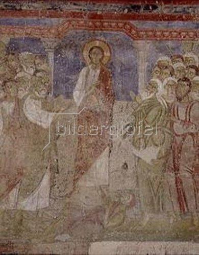 Fresko: Christus treibt in der Synagoge von Kapernaum einen Dämon aus einem