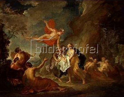 Hyacinthe Collin de Vermont: Merkur vertraut den Nymphen von Naxos den kleinen Bacchus an.