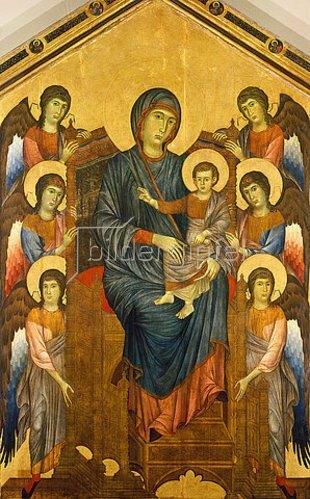 Cimabue (Cenni di Pepo): Thronende Madonna, umgeben von sechs Engeln.