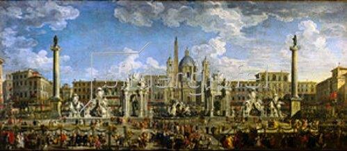 Giovanni Paolo Pannini: Vorbereitung zu einem Feuerwerk auf der Piazza Navona in Rom.