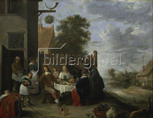 Jan Steen: Familie bei einer Mahlzeit im Freien.