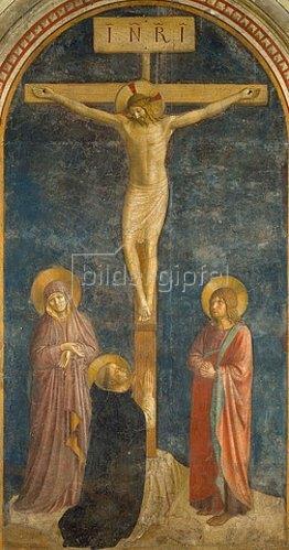 Fra Angelico: Kreuzigung mit Maria, Johannes dem Evangelisten und dem hl. Dominikus. 1442