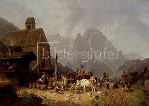 Heinrich Bürkel: Dorfbrunnen in Oberbayern. Um 1840.