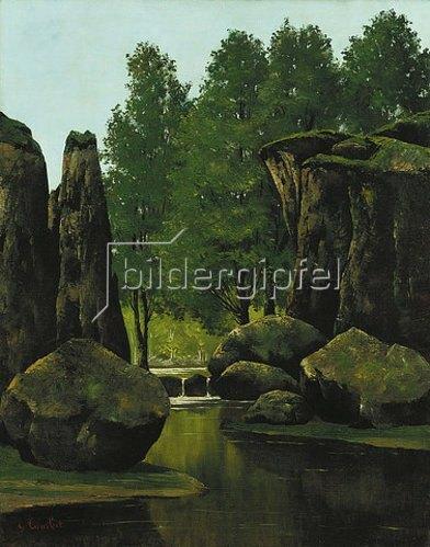 Gustave Courbet: Landschaft mit Bach und Felsentor.