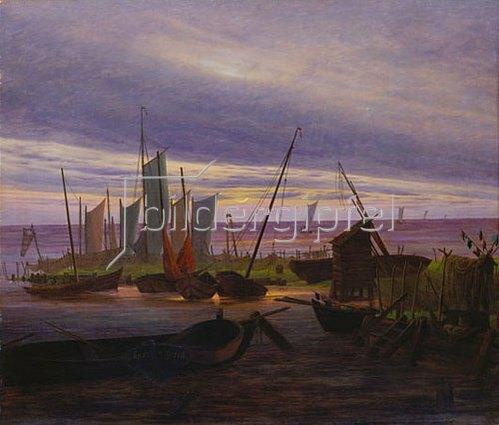 Caspar David Friedrich: Schiffe im Hafen am Abend. 1828.