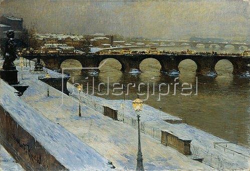 Gotthard Kuehl: Die Augustusbrücke zu Dresden im Schnee.