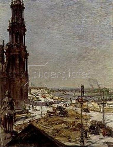 Gotthard Kuehl: Brückenbau in Dresden. 1910.