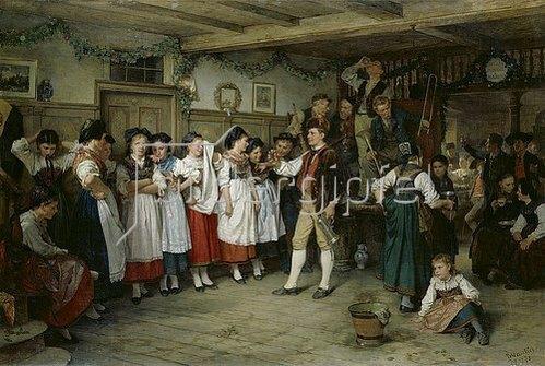 Benjamin Vautier: Tanzpause bei einer elsässischen Bauernhochzeit. 1878.