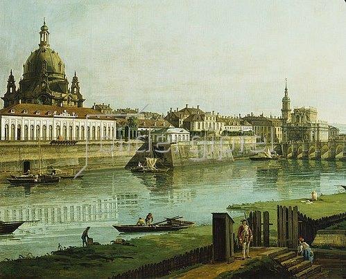 Bernardo (Canaletto) Bellotto: Dresden vom rechten Elbufer oberhalb der Augustusbrücke (Ausschnitt). 1747.