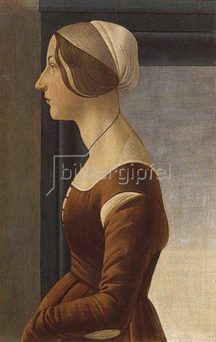 Sandro Botticelli: Bildnis einer Dame mit Kappe (La bella Simonetta).