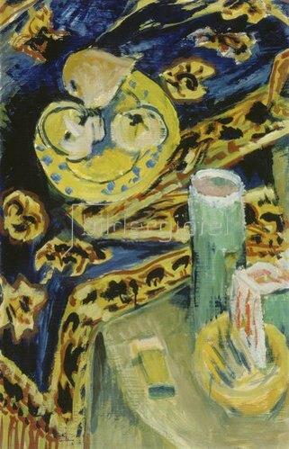 Ernst Ludwig Kirchner: Stilleben mit Fruchtschale und Kerze. Um 1917/18