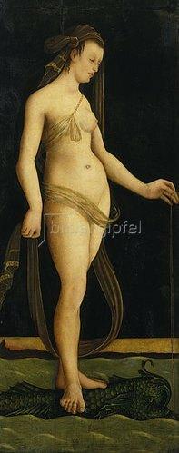 Jacopo de Barbari: Galathea, auf einem Delphin stehend.
