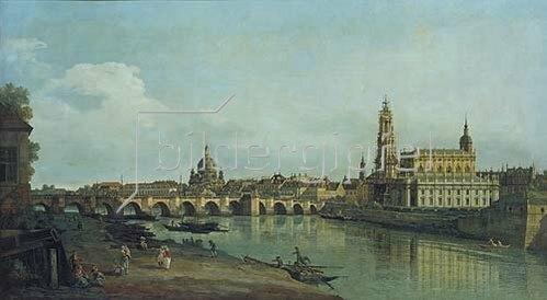 Bernardo (Canaletto) Bellotto: Dresden vom rechten Elbufer oberhalb der Augustusbrücke. 1747