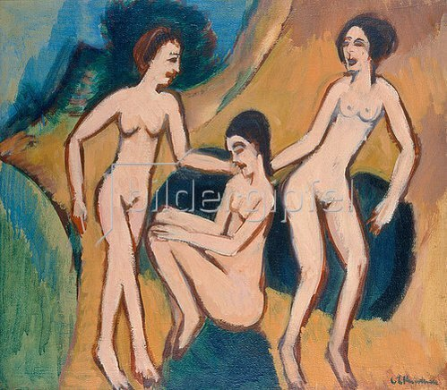 Ernst Ludwig Kirchner: Drei Badende am Strand. 1913/20