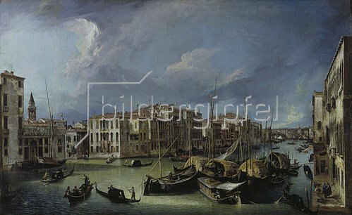 Canaletto (Giov.Antonio Canal): Der Canal Grande in Venedig mit der Rialtobrücke. Gegen 1725.