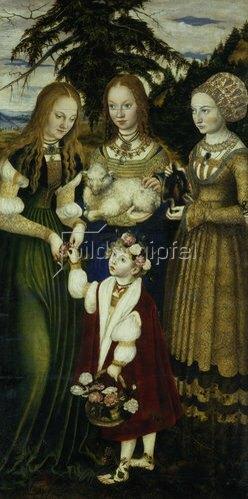 Lucas Cranach d.Ä.: Katharinen-Altar. Linker Seitenflügel: Die hll. Dorothea, Agnes und Kunigunde. 1506