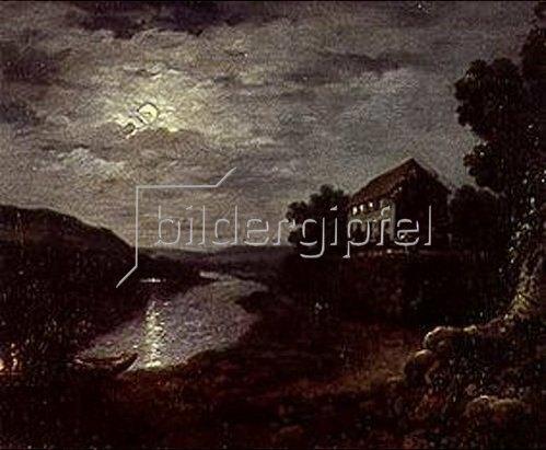 Anton Graff: Die Elbe bei Blasewitz oberhalb Dresdens bei Nacht. Um 1800.