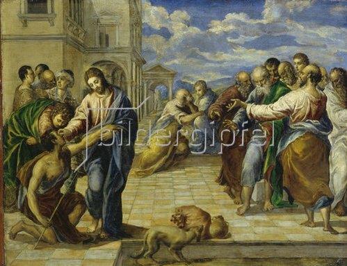 Greco El (Dom.Theotokopoulos): Die Heilung des Blinden. Um 1570.