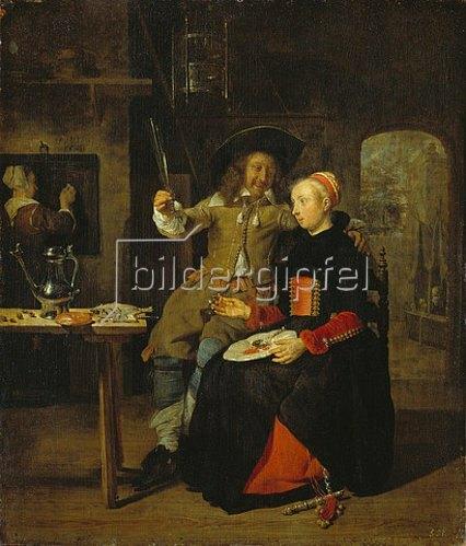 Gabriel Metsu: Selbstbildnis mit seiner Frau Isabella de Wolff im Wirtshaus. 1661