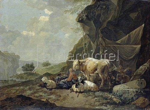 Johann Heinrich Roos: Hirten und Herden unter Felsen. 1681.