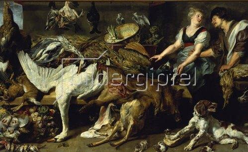 Frans Snyders: Stilleben mit Hündin und ihren Jungen, sowie Koch und Köchin. Um 1625
