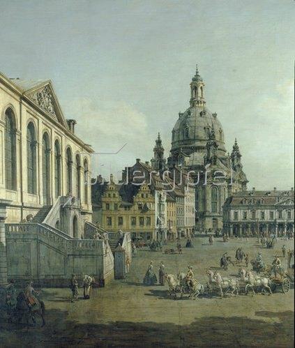Bernardo (Canaletto) Bellotto: Der Neumarkt in Dresden vom Jüdenhofe aus (Ausschnitt). 1749