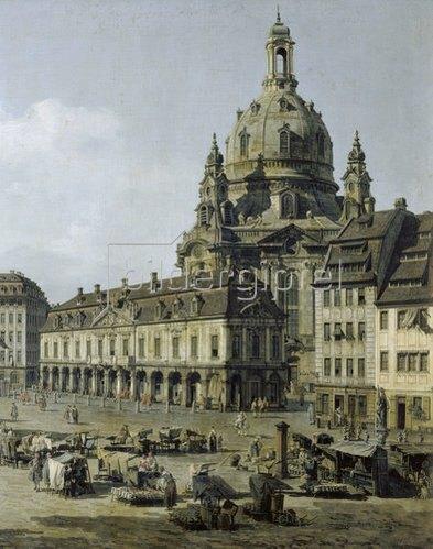 Bernardo (Canaletto) Bellotto: Der Neumarkt in Dresden von der Moritz - Strasse aus (Ausschnitt). 1749-1751.