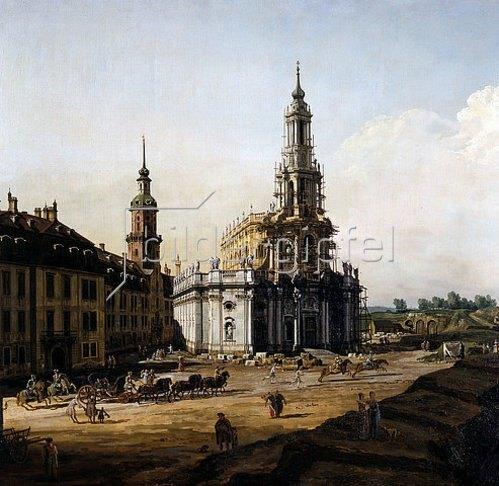 Bernardo (Canaletto) Bellotto: Dresden vom linken Elbufer oberhalb des Altstädter Brückenkopfes (Detail). 1748.