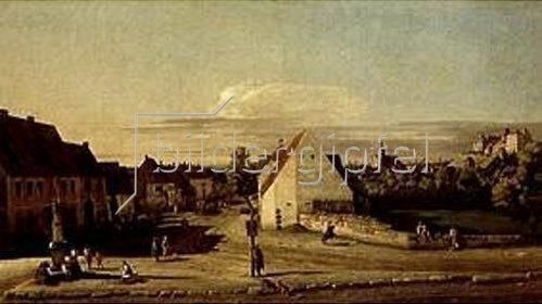 Bernardo (Canaletto) Bellotto: Die Breitegasse in Pirna mit der Postmeilensäule. Zwischen 1753/1755.