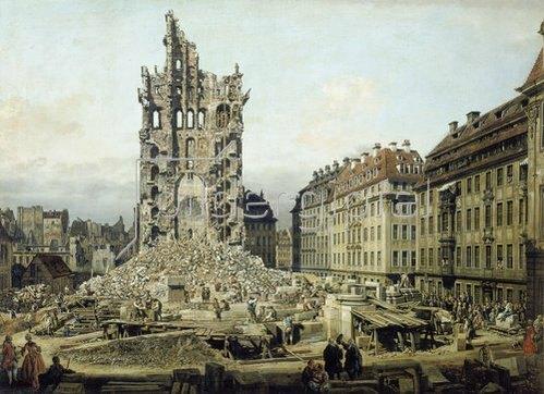 Bernardo (Canaletto) Bellotto: Die Trümmer der ehemaligen Kreuzkirche in Dresden 1765.