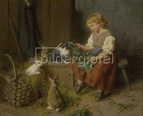Felix Schlesinger: Kaninchen füttern.