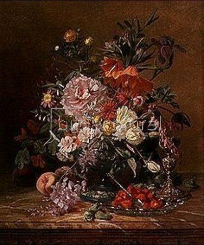 David Emile Joseph de Noter: Blumenstilleben mit Erdbeeren.