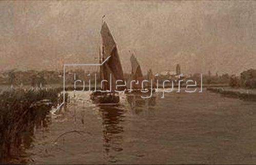 Erwin Günter: Lastensegler auf dem Niederrhein. 1910.