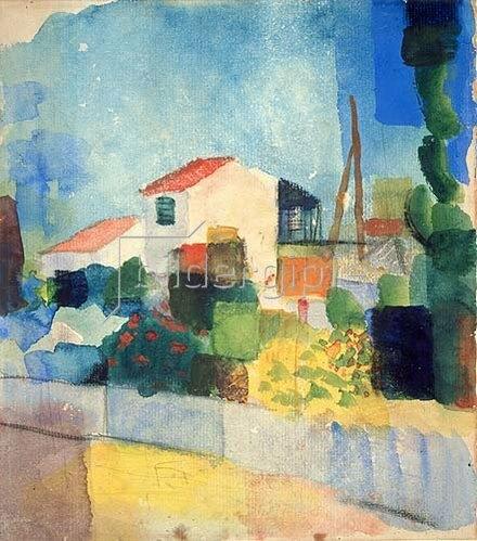 August Macke: Das helle Haus (1.Fassung). 1914.