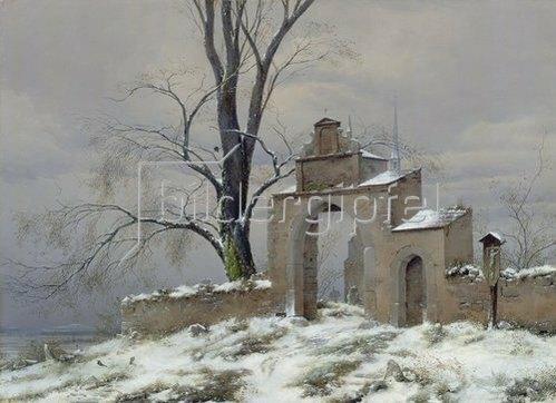 Caspar David Friedrich: Einsames Friedhofstor im Winter.