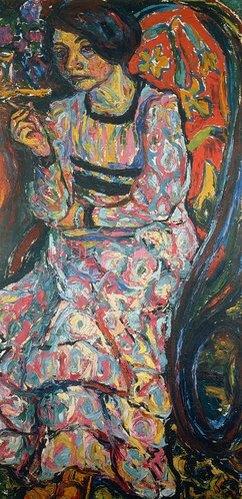 Ernst Ludwig Kirchner: Emmy Frisch im Schaukelstuhl. 1908.