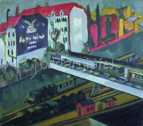 Ernst Ludwig Kirchner: Strassenbahn und Eisenbahn, Blick aus dem Atelier des Künstlers. 1914.
