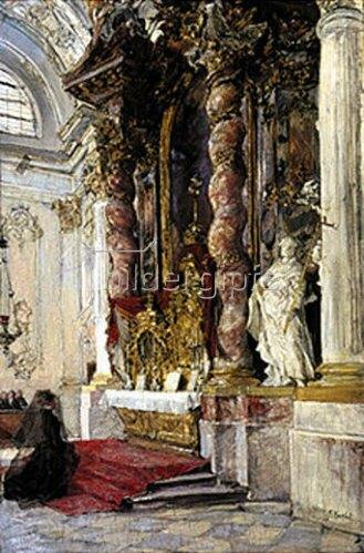 Gotthard Kuehl: In der Damenstiftskirche in München. Um 1885.