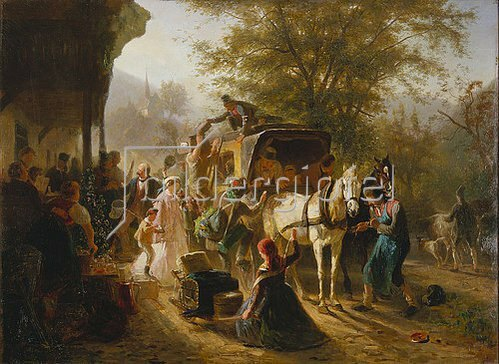 Karl von Enhuber: Abfahrt eines Postwagens. Um 1867
