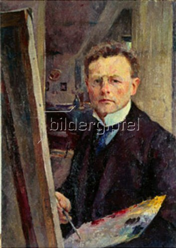 Heinrich Eduard Linde-Walther: Selbstbildnis an der Staffelei. Um 1905.