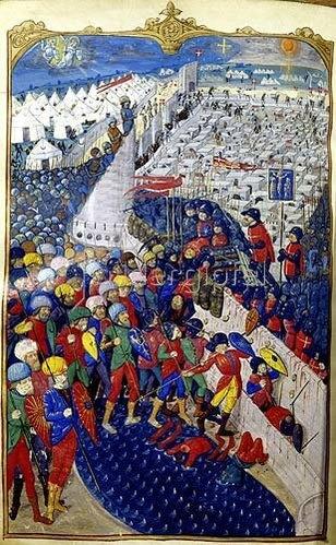 französisch Handschrift: Französische Kreuzritter erobern eine muselmanische Stadt.