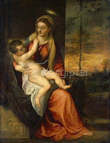 Tizian (Tiziano Vecellio): Maria mit dem Kind in einer Abendlandschaft. Um 1560