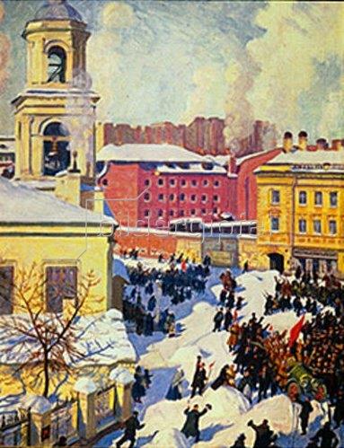 Boris Michailowitsch Kustodiev: Der 27.Februar 1917 in Russland. 1917.