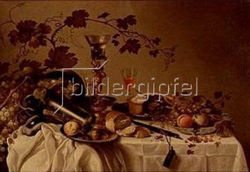 Cornelis Cruys: Stilleben mit Früchten in einer Delfter Schale, Pastete und Zinngeschirr.