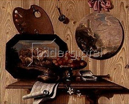 Antonio (Scarpetta) Mara: Trompe-l'Oeil: Schale mit Kirschen,Dose, Notenblatt,Palette und zwei Bildern.