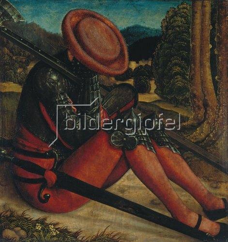 Bernhard Strigel: Grabwächter mit Schwert und Hellebarde.