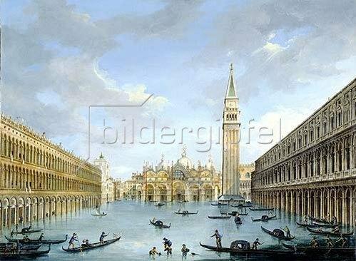 Vincenzo Chilone: Der Markusplatz in Venedig bei Hochwasser.