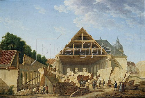 Domenico Quaglio: Abbruch des alten Turnierhauses in München. Um 1822.