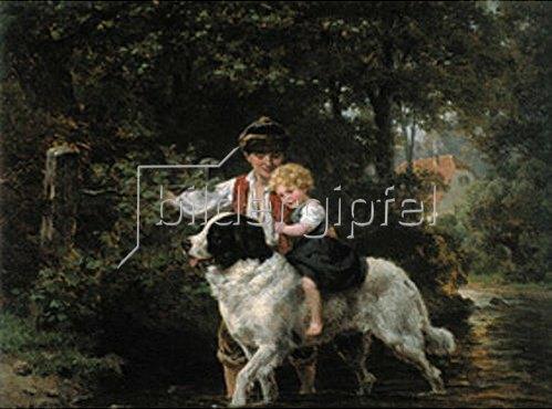 Ernst Bosch: Ritt durch´s Wasser. Um 1870.