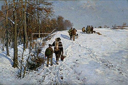 Hugo Mühlig: Heimkehr von der Winterjagd. Um 1900.